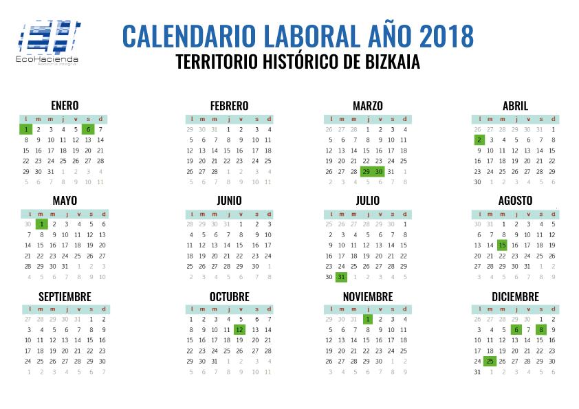 calendario dias no laborables 2018